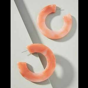 Anthropologie Orange Resin Hoop Earrings